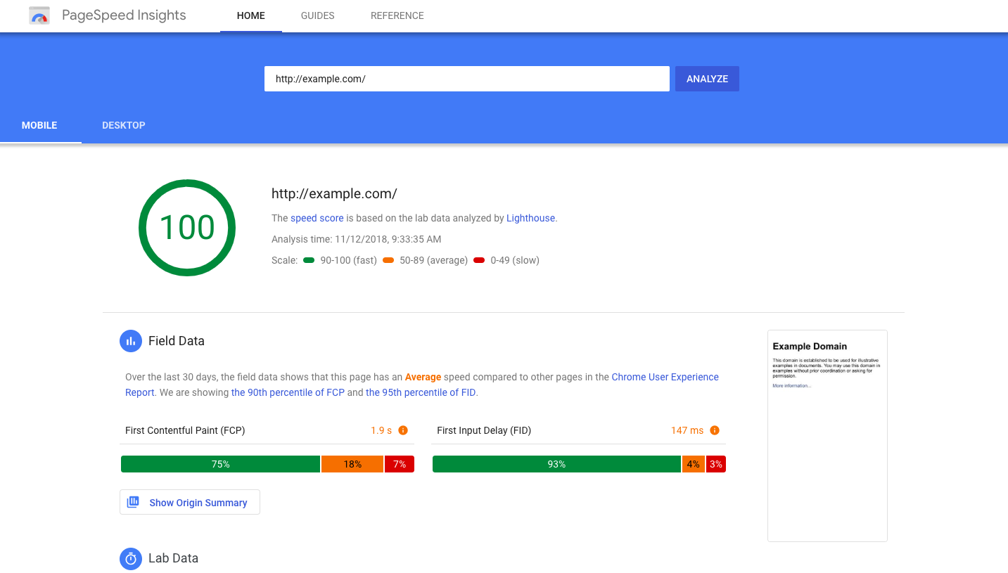 exemple google page speed