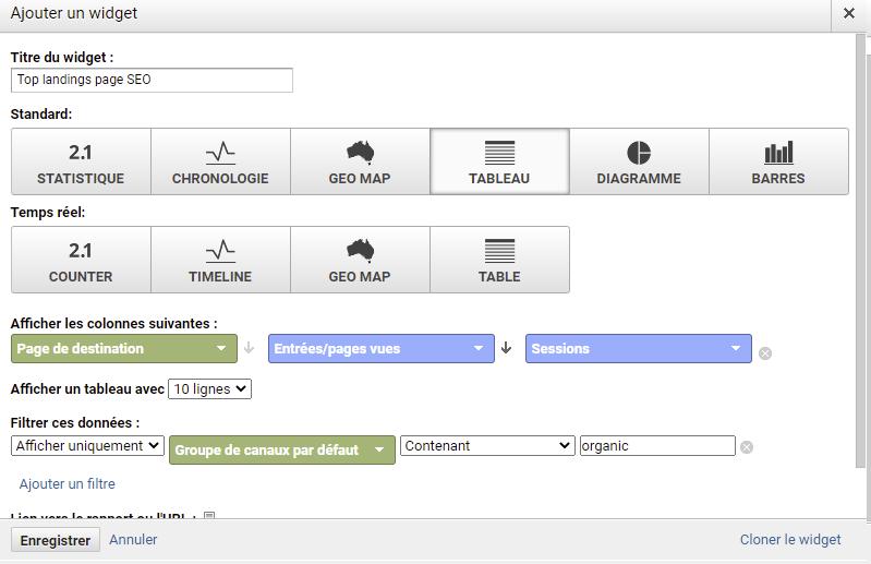 top landing page widget google analytics seo