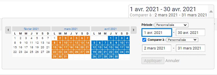 sélection de date comparaison google analytics
