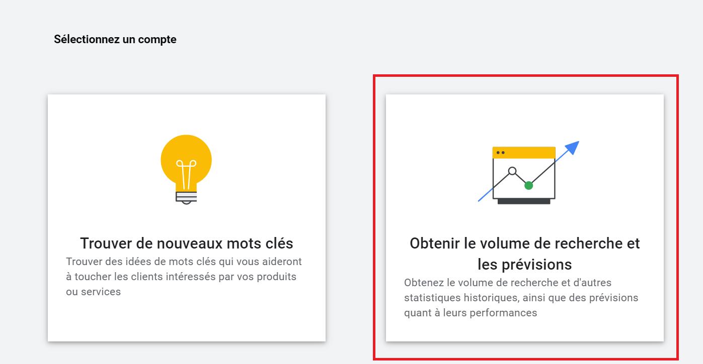 google ads obtenir keywords et estimation recherches