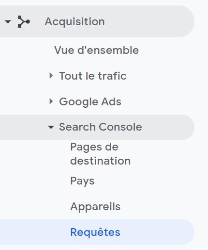 google analytics requêtes search console